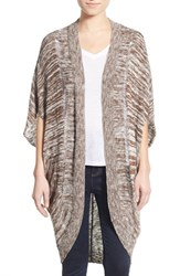 Junior Women's Sun And Shadow Long Cocoon Cardigan Brown Terra Canyon Marl
