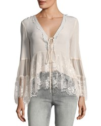 Nanette Lepore Virginia Plunging Lace Peasant Top Neutral