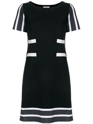 Charlott Striped Details Knit Dress Black