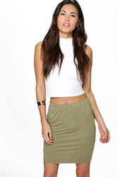 Boohoo Basic Viscose Mini Skirt Olive