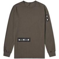 Rick Owens Drkshdw Long Sleeve Level Patch Tee Brown