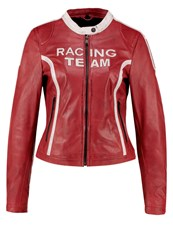 Freaky Nation Racing Team Leather Jacket Red White