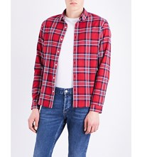 Sandro Checked Cotton Shirt Red