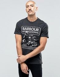Barbour T Shirt With Motorcycle Print In Grey Charcoal Marl
