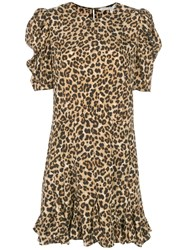 Veronica Beard Ruffled Hem Leopard Print Dress Brown