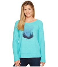 Life Is Good Star Struck Sky Beachy Pullover Bright Teal Women's Sweatshirt Blue