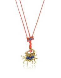 Tory Burch Crab Charm Thread Necklace Red