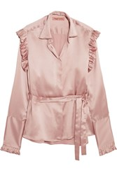 Maggie Marilyn The Good Knight Pleated Silk Satin Blouse Antique Rose