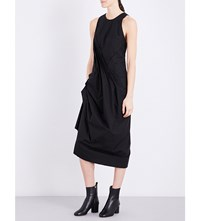 Isabel Benenato Gathered Side Cotton Dress Black