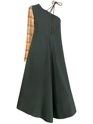Song For The Mute One Shoulder Dress Green
