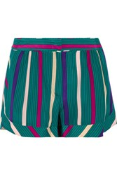 See By Chloe Striped Silk Shorts Teal