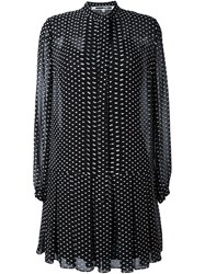 Mcq By Alexander Mcqueen Frayed Polka Dot Dress Black