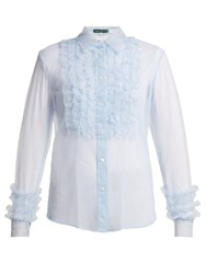 Alexachung Ruffle Front Tulle Blouse Light Blue