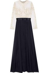 Catherine Deane Woman Embroidered Tulle And Silk Chiffon Gown Midnight Blue