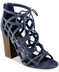 G By Guess Juto Lace Up Block Heel Sandals Women's Shoes Blue