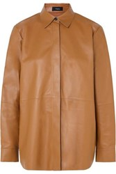 Theory Leather Shirt Brown