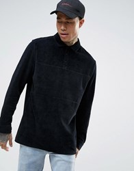Asos Longline Long Sleeve Polo Shirt In Black Velvet With Rugby Styling Black