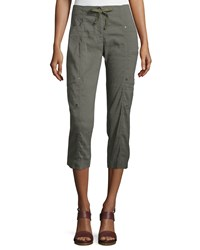 Eileen Fisher Drawstring Cropped Cargo Pants Petite Women's Black