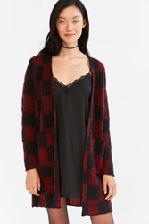 Silence And Noise Buffalo Plaid Cardigan Red Multi