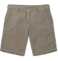 Massimo Alba Slim Fit Linen And Cotton Blend Shorts Stone