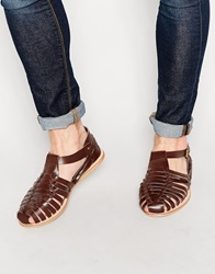 Dune Leather Woven Sandals Brown