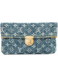 Louis Vuitton Vintage Plate Clutch Pouchette Blue