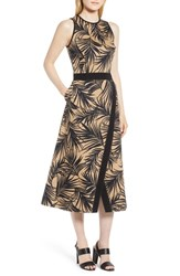 Boss Denura Palm Frond Woven Midi Dress Warm Clay Fantasy