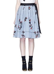 Marc Jacobs Floral Gingham Print Flare Skirt Blue Multi Colour