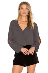 Three Eighty Two Amber Surplice Top Grey