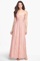 Amsale Pleated Lace Sweetheart Strapless Gown Pink