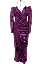 Preen By Thornton Bregazzi Lazarus Ruched Lame Midi Dress Purple