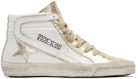Golden Goose White And Gold Slide High Top Sneakers