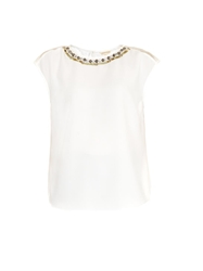 Rebecca Taylor Embellished Mesh And Crepe Top