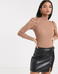 River Island Roll Neck Sweater With Puff Sleeves In Camel Tan