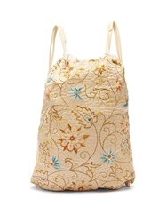 By Walid Jim English Embroidery And Leather Drawstring Bag Beige