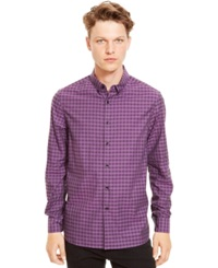 Kenneth Cole Reaction Checked Button Down Shirt Pale Plum Combo