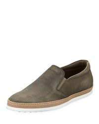 Tod's Distressed Leather Espadrille Loafer Gray