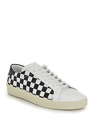 Saint Laurent Checkered Leather Sneakers Black White