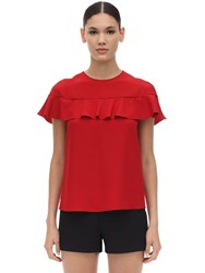 Red Valentino Ruffled Crepe Envers Satin Top Red