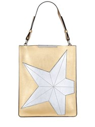 N 21 Star Metallic Leather Flat Shoulder Bag