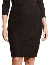 Lauren Ralph Lauren Plus Lace Pencil Skirt Black