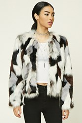 Forever 21 Fuzzy Faux Fur Jacket Grey Brown