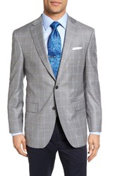 David Donahue Men's Big And Tall Connor Classic Fit Windowpane Wool Sport Coat Light Gray