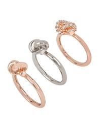 Kenneth Cole Knotty By Nature Knotted Crystal Rings Set Of 3 Mixed Metal