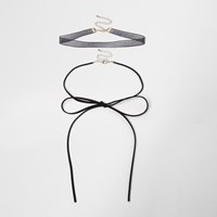 River Island Black Bow Choker Bolo Necklace Set