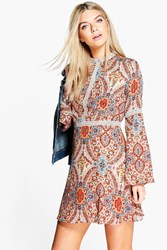 Boohoo High Neck Paisley Skater Dress Mocha