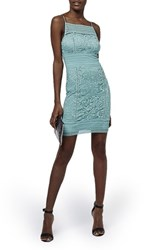 Women's Topshop Floral Crochet Body Con Dress Light Blue