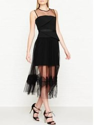 Three Floor Ondine Origami Folds Chiffon Overskirt Dress Black