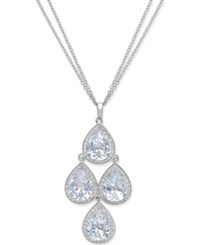 Macy's Cubic Zirconia Double Strand Kite Shaped Pendant Necklace In Sterling Silver