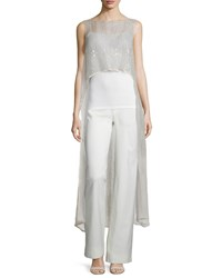 Monique Lhuillier Sleeveless Chantilly Lace Tunic Blush
